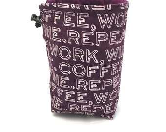 Coffee, Work, Wine, Repeat, Dice Bag, Draw String Bag, Free Standing, Revisable, Gamer Bag, D&D Dice Bag, Makeup Bag, Small Gift Bag, Pouch