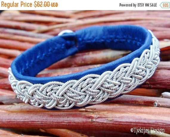 Genuine Swedish Lapland Sami Bracelet YGGDRASIL Custom Handmade in Silksoft Blue Reindeer Leather with Viking Braided Spun Pewter Wire