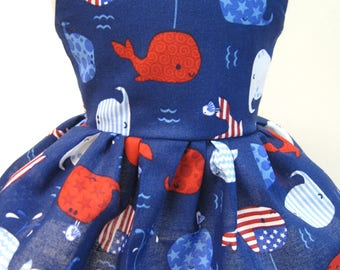 Patriotic Whales, Sleeveless Dress for your 18 Inch Doll C