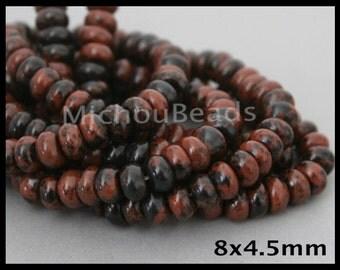 "16"" Strand - 8mm Mahogany OBSIDIAN Rondelle Gemstone Beads - 8x4.5mm Genuine Natural B Grade Semi precious Stone - USA DIY Beading - 6863"
