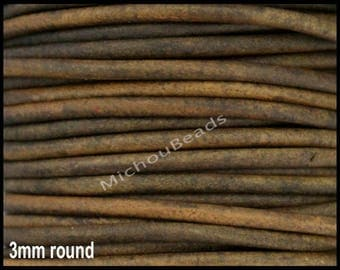 1 Yard 3mm Round LEATHER Cord - DISTRESSED MOSS 3 Feet Genuine Natural Indian Leather Cording - Wholesale DIy Leather Cord By the Yard