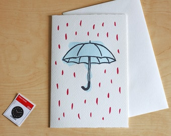 Umbrella Letterpress Card