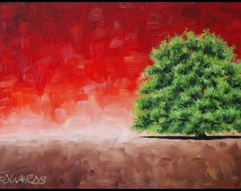"""Solitary at Sunset, an original 18"""" x 36"""" oil painting by Jo Edwards"""