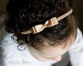 Little Mocha Baby Headband - Flower Girl Headband - Little ELLA Mocha Satin Bow Handmade Headband - Baby to Adult Headband