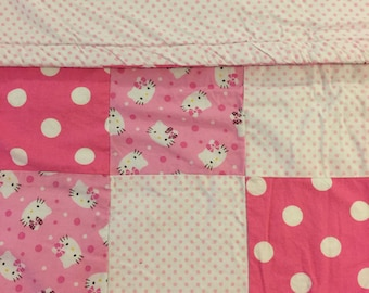 READY TO SHIP- Little Kitty Quilt, Pink, Polka Dots, Cozy, Toddler, Warm Toddler, Baby, Quilt, Blanket, Lap Quilt, Crib Size