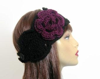Black earwarmer Crochet Black Headband with Purple flower ear warmer crochet headband Black Head band Black knit Hair wrap crochet head band