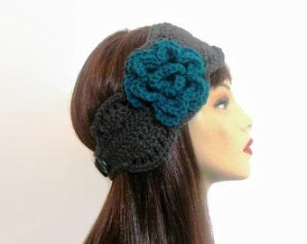 Gray Crochet Head band with Flower Gray Knit HeadBand Charcoal earwarmer Crochet Ear Warmer Gray Earwarmer Gray ear warmer gray head wrap
