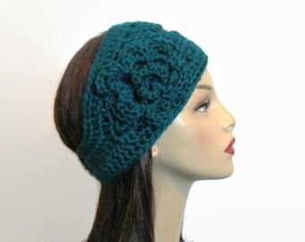 Teal Crochet womens Headband with flower Thick Headband Aqua Headwrap Teal Head Band Knit Earwarmer Wide Earwarmer Aqua Crochet Headwrap