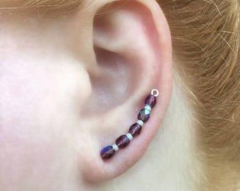 Climbing Earrings | Curved Ear Climber | Long Ear Climber | Crystal Ear Climber | Long Climber Earring | Ear Climber | Ear Climber Earrings