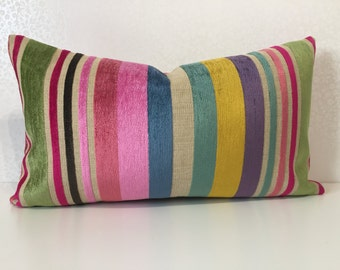 BRIGHTS STRIPES in multi shades of Pinks Purple Yellow Blues & Green striped lumber cushion cover in Lorca fabric STATEMENT accent cushion