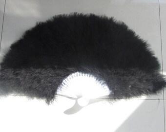 80*45cm Large  Burlesque Fan Dance  feather fan Bridal Bouquet Party Dance Fan Showgirl Large Fan Black