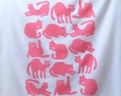 Flour Sack Dish Towel - Cats: Pink, Grey or Burnt Orange