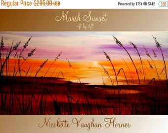"""SALE XL Abstract Original Seascape Florida Marsh Sunset   painting by Nicolette Vaughan Horner ready to hang 48x24"""""""