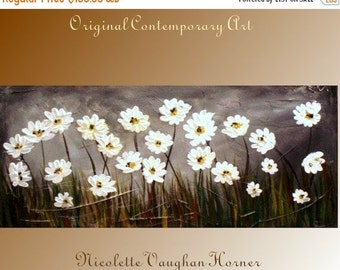 SALE Original Impasto style painting on canvas 'Everything's Coming Up Daisies' by Nicolette Vaughan Horner