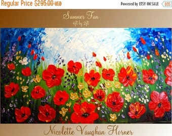 SALE XLarge Original Contemporary    modern  impasto abstract  palette knife  floral  painting by Nicolette Vaughan Horner