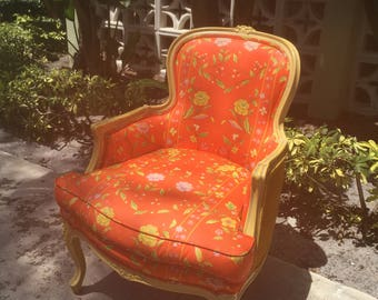 CORAL PRACTICE / Incredible Coral And Yellow Bergere Chair / Amazing Clean Upholstery / Palm Beach / Draper-Esque / Last Image For Color