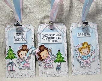 OOAK Shabby Chic Christmas Tags Set of 3 - Elves, Christmas, Tag, Gift, Present