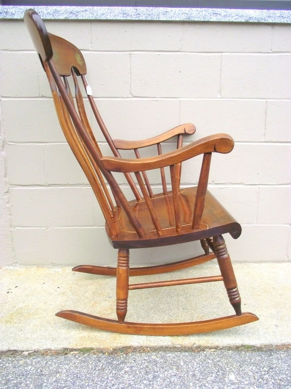 S Bent Brothers Rocking Chair Hitchcock Style Arrowback Stenciled Solid  Maple Rocker   Farmhouse   Baby Nursery   Country Porch Americana
