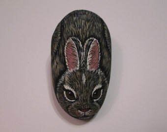 Bunny Rabbit hand painted on a stone - pet rock - by Ann Kelly