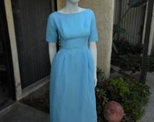 Vintage 1960's Lorrie Deb  Baby Blue Evening Dress - Size 4
