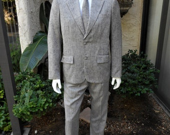 Vintage 1980's Grey Suit with Matching Tie - Size 42 Long