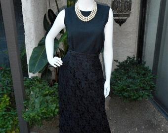 Vintage 1980's Black Lace Pencil Skirt - Size 10