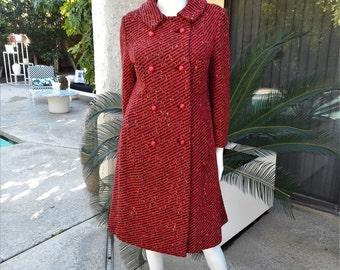 Vintage 1960's Modelia Red/Black & Green Striped Wool Coat - Size 12/14