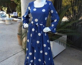 Vintage 1970's Tori Richard Blue Polka Dot Cotton Dress - Size 12