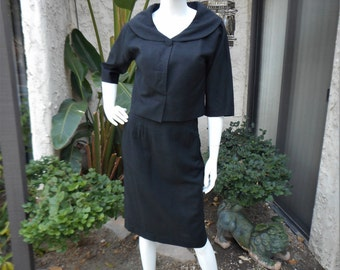 Vintage 1960's Romay Black Suit - Size 8