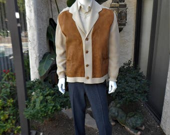 Vintage 1970's Tavelman's Beige Wool & Brown Suede Cardigan - Size Medium