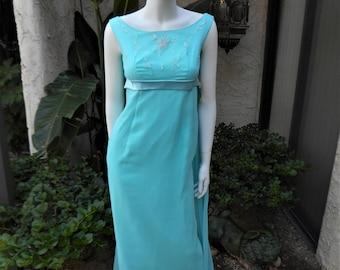 Vintage 1960's Coquette Frocks Blue Chiffon Empire Waist Evening Gown - Size 2