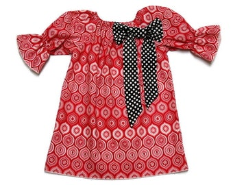 Girls Christmas Peasant Dress Red Ornament Black Polka Dot Bow Size 3-6 mo, 6-12 mo, 18 mo, 2T, 3T, 4T, 5, 6, 8