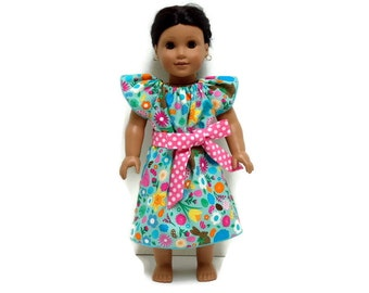 18 inch Doll Easter Peasant Dress Chocolate Bunny Baby Chick Peeps Pink Polka Dot Sash 15 inch Doll Clothes