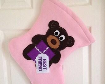 Personalised Stocking, Childrens Stocking, Felt Stocking, Felt Xmas Stocking, Teddy Bear Stocking, Personalised Keepsake, Kids Xmas Stocking