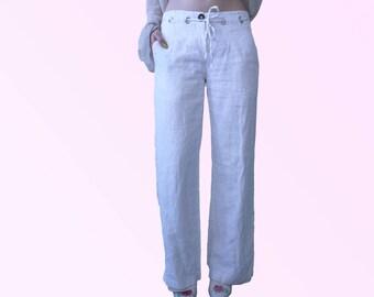 90s Wide Leg White Linen Pants with Drawstring Waist Minimal Chic Vintage VTG