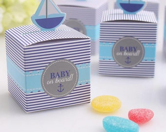 Favor Boxes Baby Shower Boxes Baby On Board Favors Nautical Boxes Oh Baby Favors Baby Shower Decorations Gift Boxes Sailboat Boxes