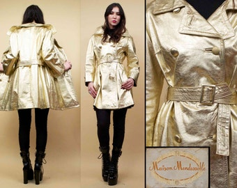 60s Vtg rare Killer! Genuine Leather METALLIC Gold Spy Jacket Mod Trench Coat / Space Age Futuristic Couture / Medium
