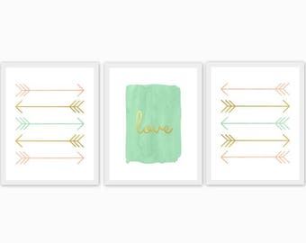 peach, gold and mint baby girl's nursery art, children's room, watercolor, arrows, love, set of 3, mix and match, custom colors, hearts