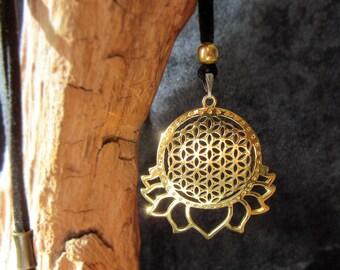 lotus flower of life brass pendant