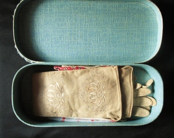 Vintage Paper Glove Box with Gloves and Hankies