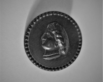 Antique Goodyear Rubber Round Cameo Button 1 inch