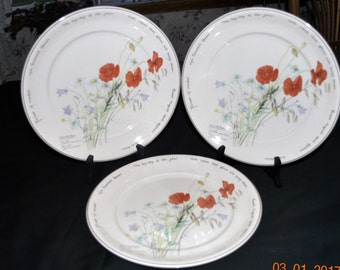 3 - Noritake Country Diary Edwardian Lady Edith Holden 1908  Dinner Plates