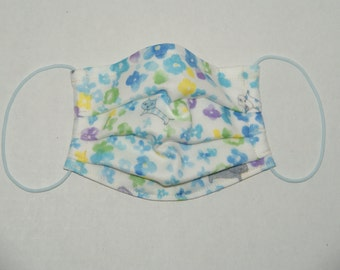 """NEW PRINT Premade Pleated Double Gauze Facial Mask for Adults """"Water Color Flowers and Cat""""  & Tio Tio Antibacterial Gauze"""" Size S"""