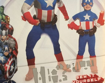 Simplicity 1030, Size 3-4-5-6-7-8 Child, Small, Medium, Large, X Large Adult, Boy's and Men's Costumes Pattern, UNCUT, Captain America
