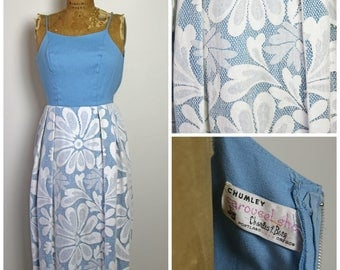 1970s Blue and Floral Lace Dress