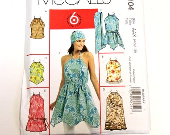 McCalls 5104 Sewing Pattern, Summer Halter Tops Tunics Scarf Misses Size 4 6 8 10 Uncut itsyourcountry