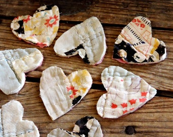 Shabby Primitive Quilted Heart Appliques, Old Vintage Patchwork Prim Fabric Cutouts,Crafting Scrapbook Embellishment,Set of 9 itsyourcountry