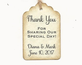 100 PERSONALIZED Thank you  -Wedding or Favor tags-Shower or Gift tags-Hang Tags