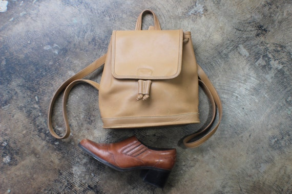 Coach Backpack  / Tan Leather Drawstring Knapsack / Designer Vintage Backpack Purse