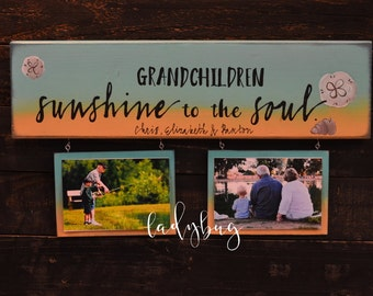 Grandchildren sunshine to the soul. Rustic sign 20x5.5 . Reclaimed wood. Grandparents gift by Ladybug design by Eu.